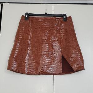 MOTEL high waisted, Brown Croc Mini Skirt